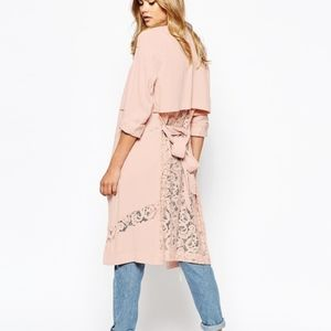 River Island Duster Coat w/ Lace Detail Pink